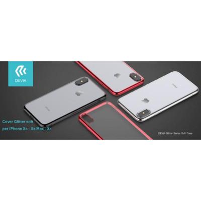 Cover Glitter soft con bordo Nero per iPhone Xs 5.8