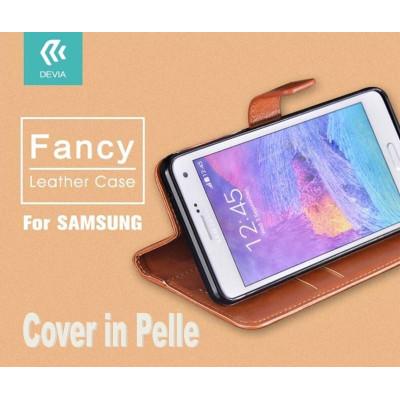 Custodia a Libro in Pelle Per Samsung Galaxy S6 Edge Marrone