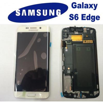 LCD + TOUCH ORIGINALE PER GALAXY S6 EDGE BIANCO GH97-17162B