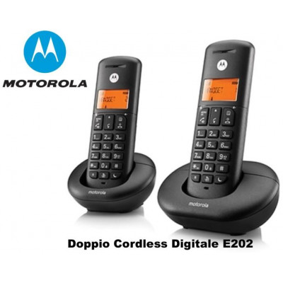 TELEFONO CORDLESS DOPPIO E202 MOTOROLA NERO